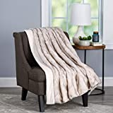 """Lavish Home Pearl White Premium Fashion Wolf Fur Throw Blanket with Faux Mink Back and Gift Box-Luxurious, Soft, Hypoallergenic-60""""x70, 60"""" x 70"""