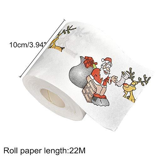 Navidad de Renos de Papá Noel,Decoraciones navideñas de Papel higiénico para el hogar 22m/Rollo