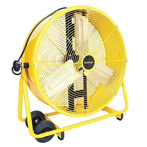 STANLEY 24 Inch Industrial High Velocity Drum Fan - Direct Drive, All-Metal Construction, 2 Speed Settings, Portable (ST-24DCT)
