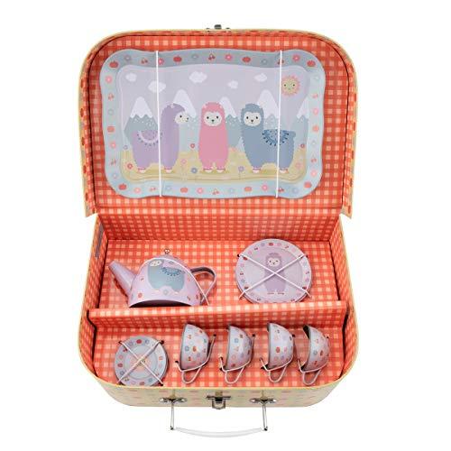 Sass and Belle Kinder Picknick Box Kleines Lama. Puppengeschirr / Spielzeug-Geschirr / Tee-Service in Einem kleinen Koffer.
