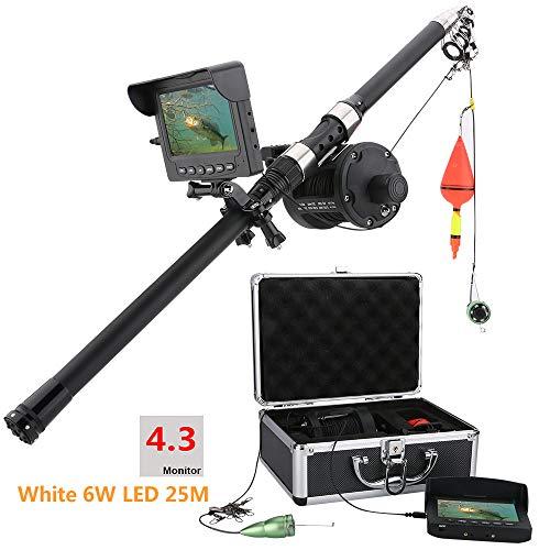 shengshiyujia Monitor LCD de 4.3 Pulgadas, cámara de Video de Pesca submarina, buscador de Peces, grabación de DVR para, con Leds Blancos 6PCS 6W