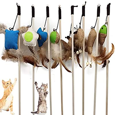 winbarry Kitten Cat Toy Natural Feather Teaser,Cat Toy Feather Ball Mice Fish Interactive Cat Toys, Cat Teaser Wand Pet Toy for Cat Activity 8pcs