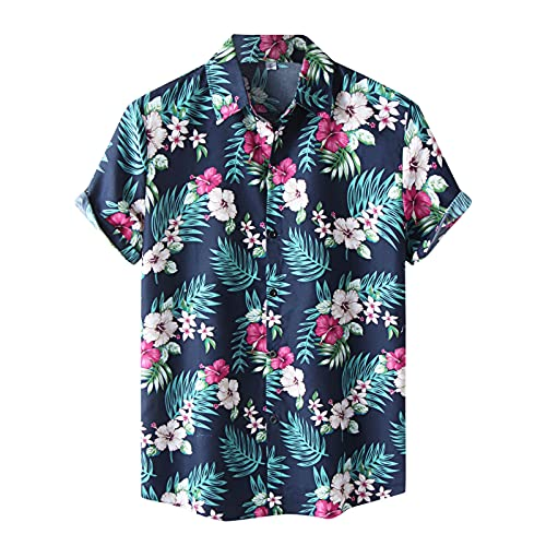 KANGYONG Camisa hawaiana informal para hombre, con estampado floral, manga corta, cuello vuelto, botones ajustados, cuello en V A_Marine XXL