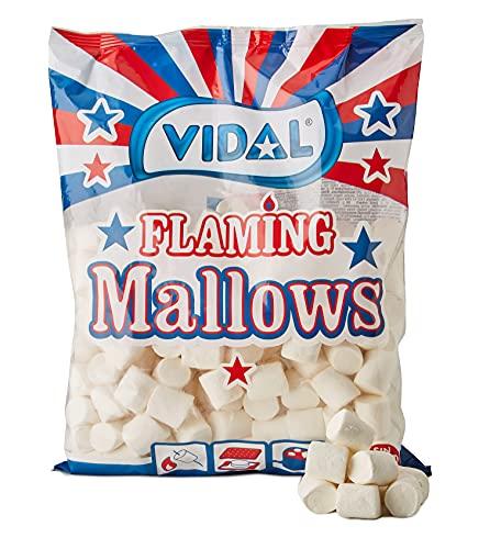 Vidal Golosinas Flaming Mallows. Nubes my sabrosas listas para fogatas, barbacoas y planchas. Sabor vainilla. Color blanco. Bolsa 1 Kg.