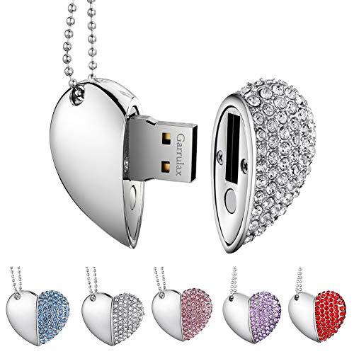 Garrulax Memoria USB, Pendive USB 2.0, Premium Impermeable Heart Diamantes 8GB /...