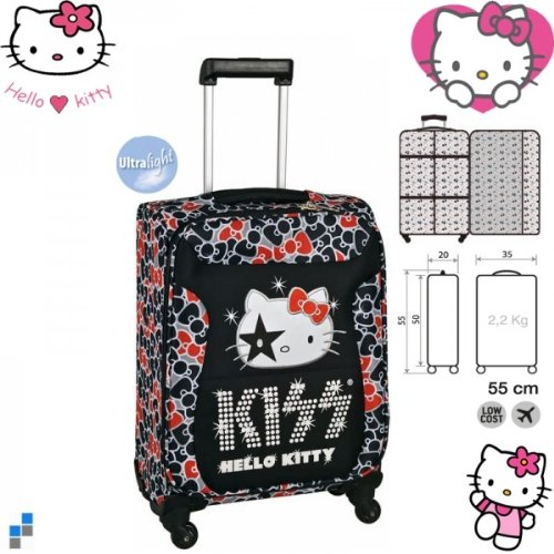 Hello Kitty Reisekoffer Trolley KISS 55cm ABS 4 Räder Koffer 33X50X20