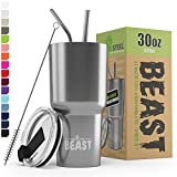 BEAST 30oz Stainless Steel Tumbler Vacuum Insulated Coffee Cup Double Wall Travel Flask Mug with Splash Proof Lid, 2 Straws, Pipe Brush & Box Bundle By Greens Steel
