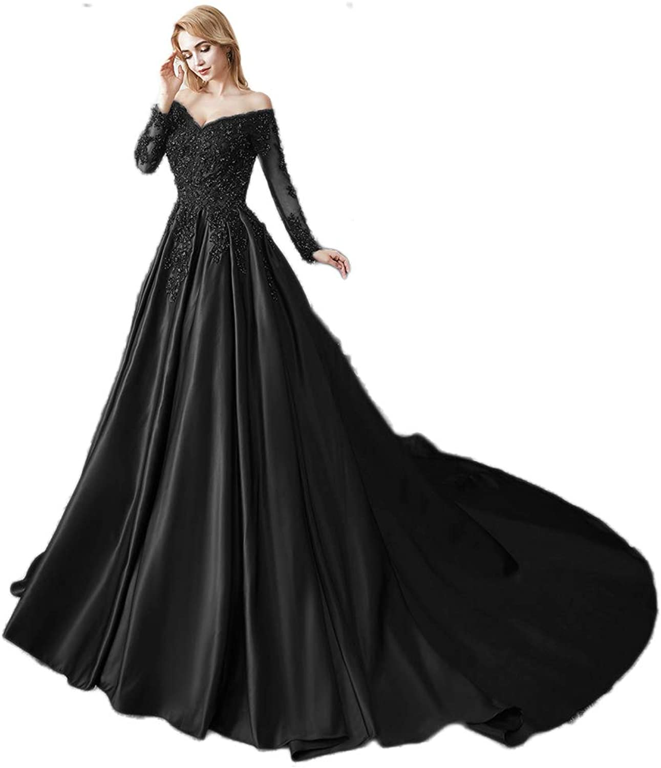 Miao Duo Women's Long Sleeves V Neck Beaded Wedding Prom Dresses Off Shoulder Formal Ball Gown 86pM
