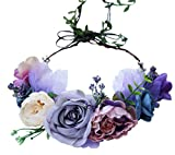 Boho Flower Crown Adjustable Flower Headband Hair Wreath Floral Headpiece Halo with Ribbon Wedding Party Festival Photos Lavander by Vivivalue