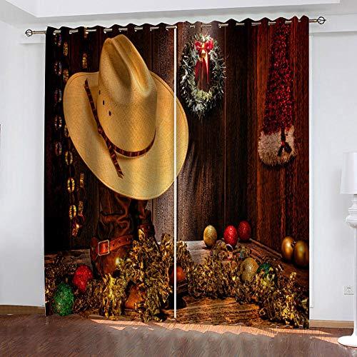 Wangchengp verduisteringsgordijn cowboyhoed lawaai verminderen raambehandeling slaapkamer privacy beschermd thermisch geïsoleerd voor slaapkamer, woonkamer, 2 panelen Super zachte oogje gordijnen