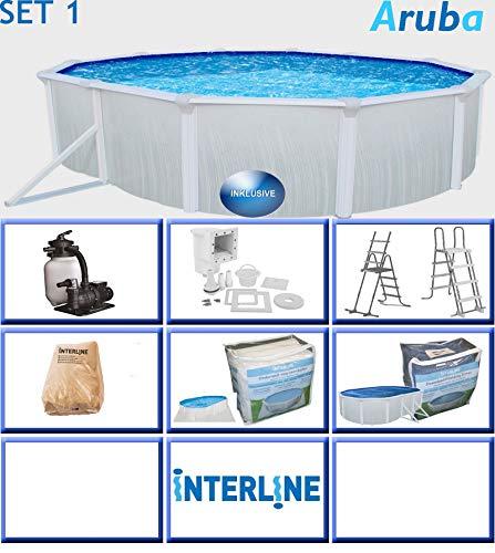 """Interline 53130036 Pool oval """"ARUBA"""" POOLSET 1 Stahlwand 4,90 x 3,60 x 1,22 m, Sandfilteranlage 3,6 m³/h, Wasserinhalt 18 m³ Ovalbecken Ovalpool"""