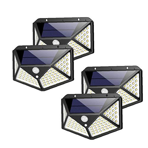 Hotaden 100 LEDs Solarleuchten Garten mit Motion Sensor und wasserdicht Weitwinkel Sicherheitswandleuchten mit 3 Beleuchtung Modi für Zaun Deck Patio Haustür Yard Garage 4PCS
