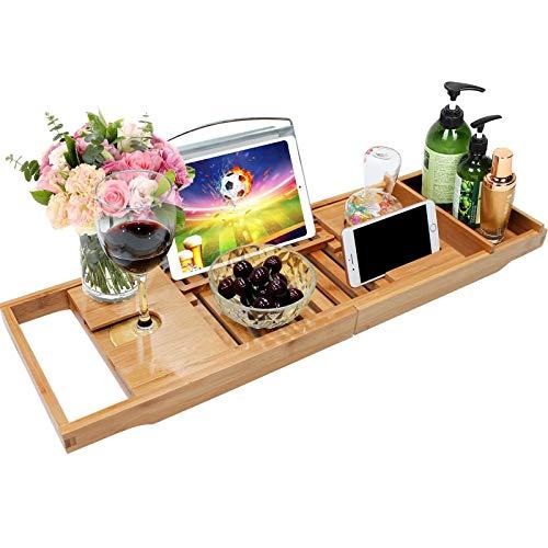 DHHZRKJ Bandeja de bambú para Carrito de bañera, Bandeja Extensible para baño de Lujo, Estante Organizador de baño Ajustable, para Copa de Vino, Libros y teléfono