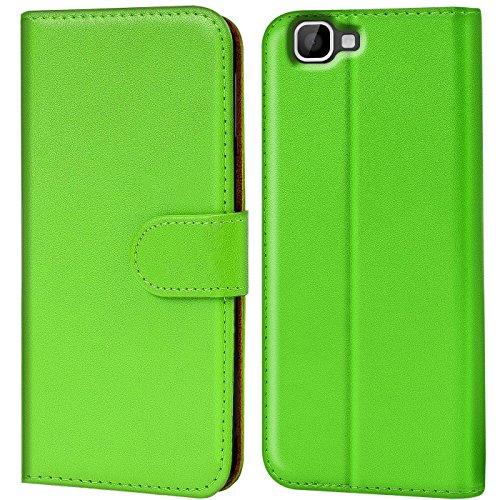 Verco Rainbow Hülle, Handyhülle für Wiko Rainbow Tasche PU Leder Flip Hülle Brieftasche - Grün