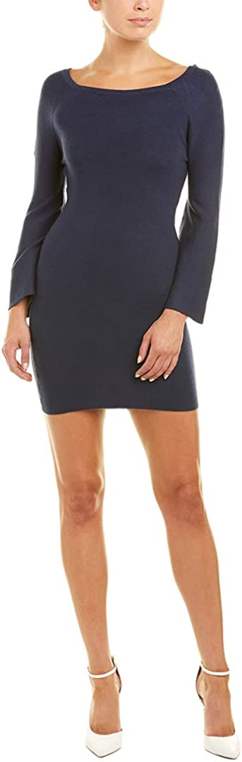 JOA Womens Solid Bell Sleeves Sweaterdress