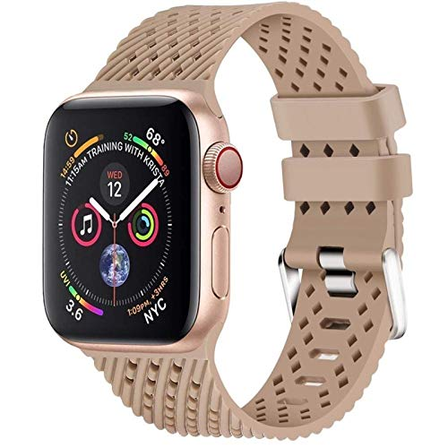 CGGA Silicone Strap For Apple watch band 44mm 40mm 42mm 38mm correa 3D Texture belt watchband bracelet series 6 5 4 3 se, (Band Color : Walnut, Band Width : 38mm or 40mm L)