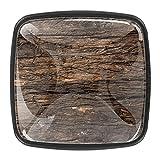 Juego de 4 pomos para armario de armario, con textura de madera, color marrón oscuro