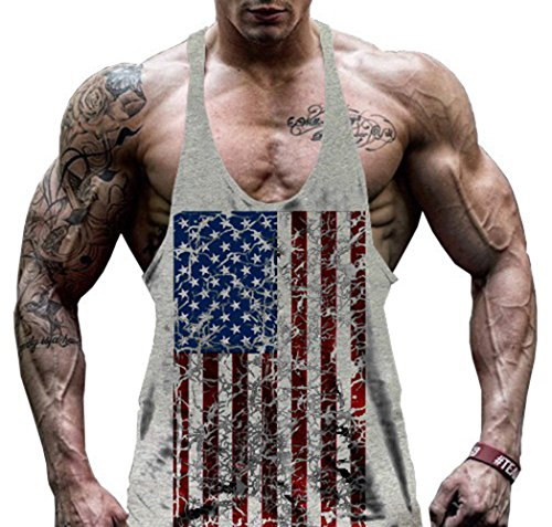Hippolo Gym Herren Tank Top Men Cotton Stringer Fitness Gym Shirt Solide Sport Vest (M, Grau)