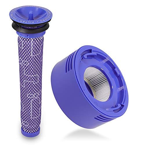 kwmobile 2x Filtro para aspiradora Dyson - Pre filtro y post filtro HEPA compatibles con aspirador V7 y V8 - Recambios lavables para escoba eléctrica