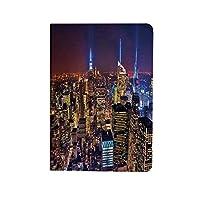 ニューヨーク PUレザー 第4世代 iPad 10.9ケース ブック型 空中都市の景観のランドマーク7月4日独立ペントハウス現代アートイメージ スタンド機能 オートスリープ機能付き ース パープルゴールド