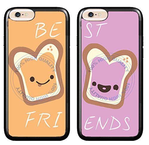 BleuReign(TM) Set of 2 BFF Peanut Butter and Jelly TPU Rubber Silicone Phone Case Back Cover for Apple iPhone 6 6s (4.7 Inches Screen)