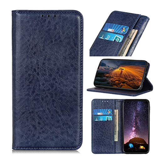 Digitaal Met Holder & Card Slots & Wallet, van magneten Retro Crazy-horse Texture Horizontal Alternatieve Leather Case for iPhone X/XS (Color : Blue)