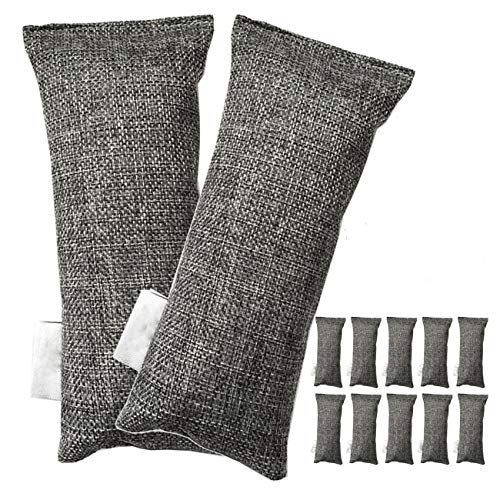 OVBBESS Paquete de 12 bolsas de carbón de bambú purificador de aire natural, desodorante de zapatos y eliminador de olores (paquete de 12 bolsas)