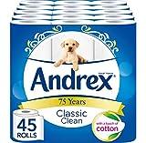 Andrex Classic Clean WC-Rolle Seidenpapier, 45Rollen