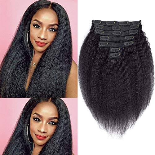 Comely Afro Kinky Straight Clip In Human Hair Extensions 8A Brazilian Virgin Hair Coarse Yaki Straight Black Clip Ins Hair Double Weft For Black Women 7Pcs/Set (12', 90Grams)