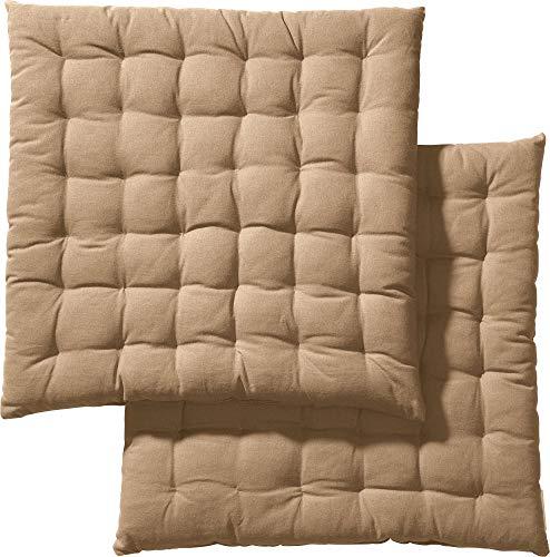 REDBEST Stuhlkissen, Stuhlauflage, Sitzkissen Uni 2er-Pack beige, Größe 40x40x3 cm - gesteppt, mit glatten, strapazierstarkem Gewebe, 100% Baumwolle (weitere Farben)