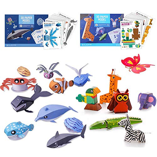 TRAVER DREAM 3D Paper Art Craft,DIY Art Paper Kit 20-Pack,Foldable Paper Crafts,Toddler Crafts Art Toys,Paper Plate Craft Art kit,Perfect for Parent-Child Game,Classroom, Wild and Sea Animal Set