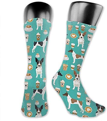 ksale Rattenterrier Kaffee Hund Haustier Rassen Geschenke Hunde Über die Wade Socken Sportliche Socken Kniestrümpfe Für Männer Frauen Sport Lange Sockenstrümpfe 40 CM