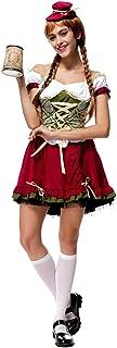 BOZEVON Vestido de Dirndl para Mujeres, Falda de Dirndl, Traje de Oktoberfest, Vestidos Criada, Ropa de la Cerveza de la Camarera, Vestido de Lolita