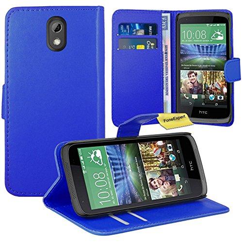 HTC Desire 526G Handy Tasche, FoneExpert® Wallet Hülle Flip Cover Hüllen Etui Ledertasche Lederhülle Premium Schutzhülle für HTC Desire 526G (Blau)