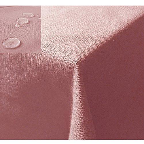 JEMIDI Tischdecke/Gartentischdecke Lotus Effekt Leinenoptik Tischdecke Decke Leinen Fleckschutz XL (Altrose, Eckig 130cm x 160cm)