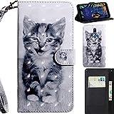 DodoBuy 3D Hülle für LG K40, Flip PU Leder Schutzhülle Handy Tasche Brieftasche Wallet Hülle Cover Ständer mit Kartenfächer Trageschlaufe Magnetverschluss - Katze