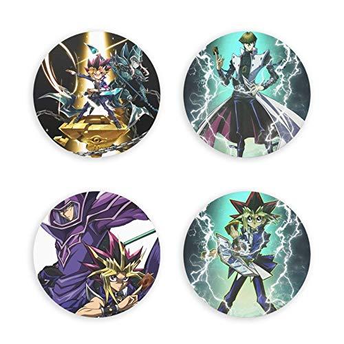 songyang Yugioh! Abrebotellas magnético con diseño de anime redondo, imán decorativo para nevera, insignia multifunción, 4 unidades, doble función, hermosos regalos