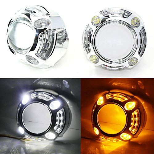 iJDMTOY (2) 3.0-Inch H1 Bi-Xenon Headlamp Projector Lens w/Cayenne Style White/Amber Switchback LED Daytime Running Light Shroud Compatible With Headlight Retrofit, Custom Headlamps Conversion