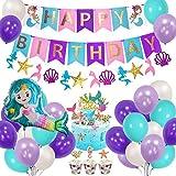AYUQI Sirena Decoración de cumpleaños para niña, Morado Feliz cumpleaños Conjunto de...