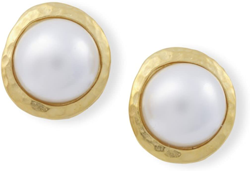 Kenneth Jay Lane Satin Gold Pearl Button Clip Earrings
