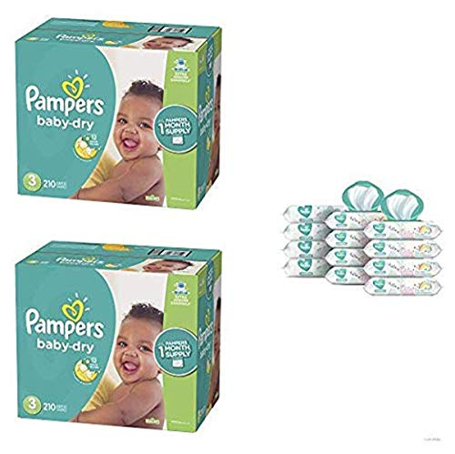 Pampers Bundle - Baby Dry Disposable Baby Diapers Size 3, 201 Count (Pack of 2) with Pampers Sensitive Water-Based Baby Wipes, 12 Pop-Top and Refill Combo Packs, 864 Count