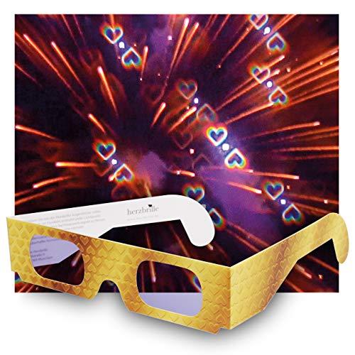 Party-Brille mit Herz-Effekt (12 Stück) - tanze durch EIN Meer aus Herzen. Diese Brille Macht jedes Partylicht zum unglaublichen Herz-Erlebnis