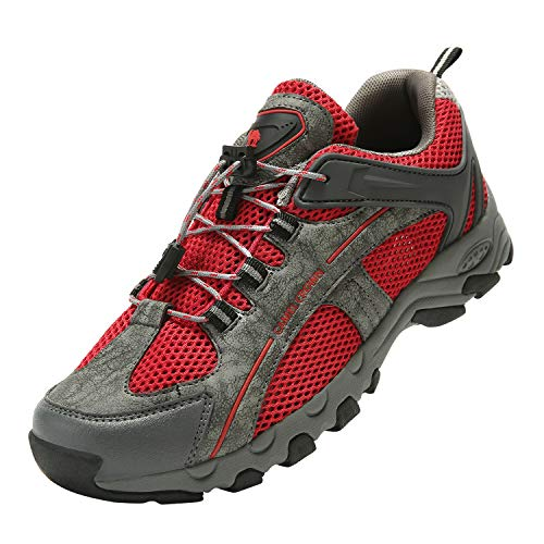 Hiking Shoes Water Breathable Shoes for Men,Quick Dry Mesh Summer High Grip for Beach Kayaking Swimming Deck Boat Red
