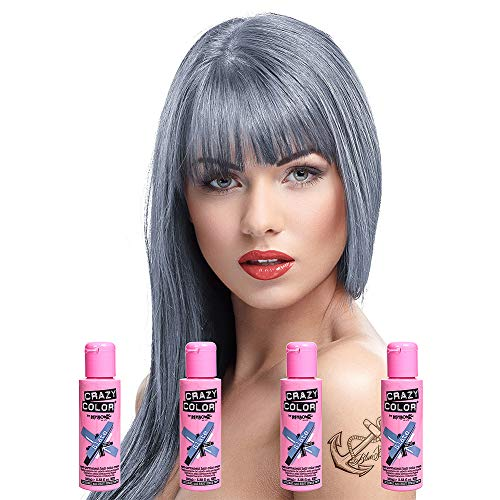 4 X Crazy Color Renbow Semi-Permanent Hair Colour Cream Dye 100ml Box of Four-Slate