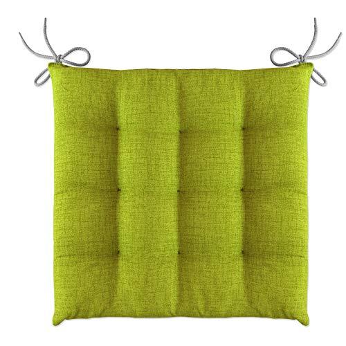 LILENO HOME 6er Set Stuhlkissen Apfelgrün (40x40x4,5 cm) - Sitzkissen für Gartenstuhl, Küche oder Esszimmerstuhl - Bequeme UV-beständige Indoor u. Outdoor Stuhlauflage als Stuhl Kissen
