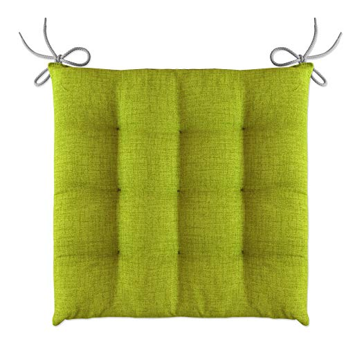 LILENO HOME - Cojín para silla (40 x 40 x 4,5 cm), verde manzana, 1er Set