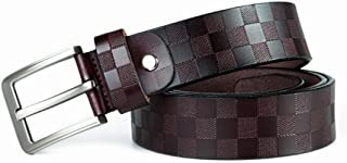 Men Waist Belt Gift Box Embossed Leather Business Leisure Belt (Color : Brown, Size : 100-135CM)