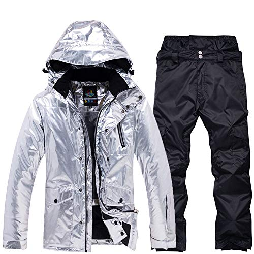 PMZZPLVDS Silberner Herren Skibekleidung Winter Thermisch Wasserdicht Winddicht Snowboardjacke Hosen Skibekleidung Herren Schneeanzüge