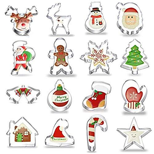 Gizhome – 16 moldes de galletas de acero inoxidable para hacer muffins, galletas, sándwiches – árbol de Navidad, sombrero de Navidad, Papá Noel, ciervos, campana, guantes,...