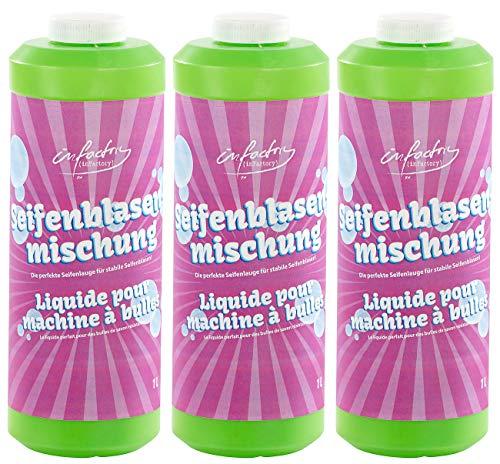 infactory Seifenblasenmischung: Mischung für Bunte Seifenblasen, 3X 1 Liter (Seifenblasennachfüllflaschen)